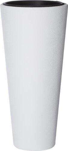 Gartenfreude Pot à Fleur en Fibre de Verre avec Insert en Plastique pour l'intérieur et l'extérieur, Blanc, 28 x 28 x 60 cm