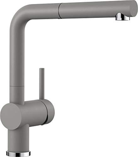 BLANCO LINUS-S – Küchenarmatur im SILGRANIT-Look mit herausziehbarem Auslauf – Hochdruck – Grau – 516689