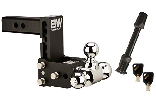 BampW Hitches TS10048B Tow amp Stow Model 8 555quot Adjustable Triple Ball Mount Hitch and 5/8quot Black Receiver Hitch Lock