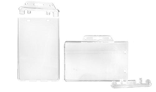 Karteo® Ausweishülle permanent einmailg verschließbar | Ausweishüllen transparent | vertikal | Kartenhülle aus Hartplastik | Ausweishalter Kartenhalter