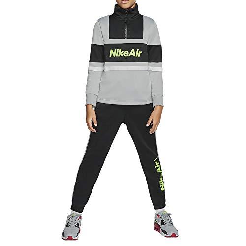 Nike Kinder U NSW Air Tracksuit Trainingsanzug, Lt Smoke Grey/Black/Black/Volt, S