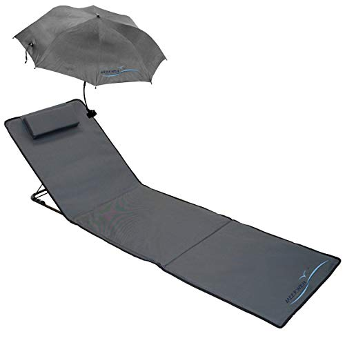 Strandmatte Strandliege XXL anthrazit gepolstert mit Schirm, 200 x 60 x 3 cm, 74016