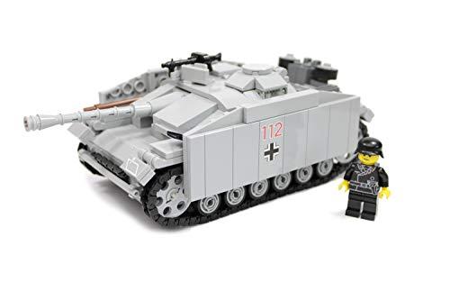 BricksStuff Tanque StuG III Ausf. G con Figura I Soldado alemán de la Segunda Guerra Mundial, Custom Accesorios de BrickArms | Kit con Instrucciones | Compatible con Lego®