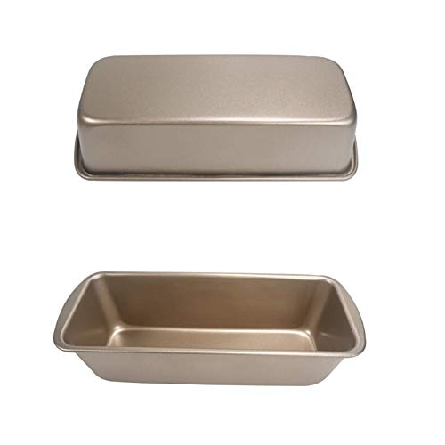 Fansipro Non Stick Loaf Pan Rectangle Toast Bread Mold Cake Mold Carbon Steel Bread Tray, 19.6 9.5 5.6 CM, Gold