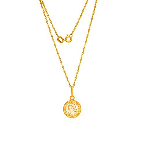 Collar de oro amarillo 585 de 14 quilates, cadena con colgante de Virgen María y Madonna grabado, para mujer, niña o niño