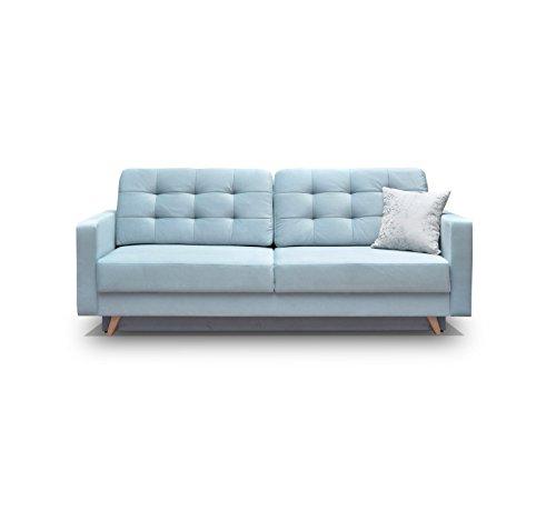 Schlafsofa Kippsofa Sofa mit Schlaffunktion Klappsofa Bettfunktion mit Bettkasten Couchgarnitur Couch Sofagarnitur - CARLA (Blau)