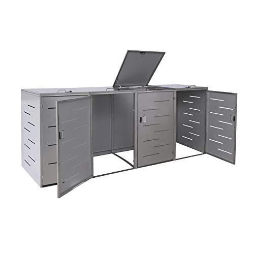 Mendler 4er-Mülltonnenverkleidung HWC-E83, Mülltonnenbox Mülltonnenabdeckung, erweiterbar 108x61x76cm ~ Edelstahl
