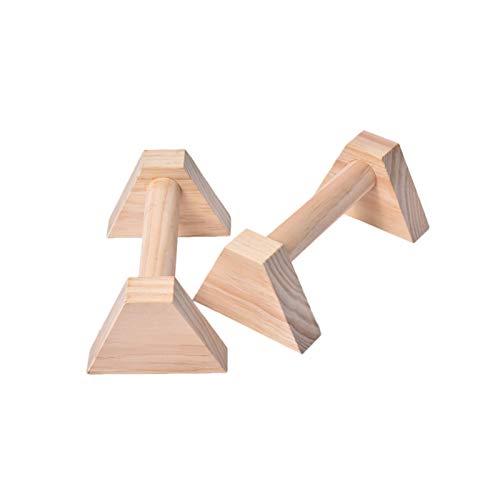 Lamptti Juego de 2 piezas de paralelos de madera, barras de flexión, soporte de empuje hacia arriba, barras de mano, paralelos de madera