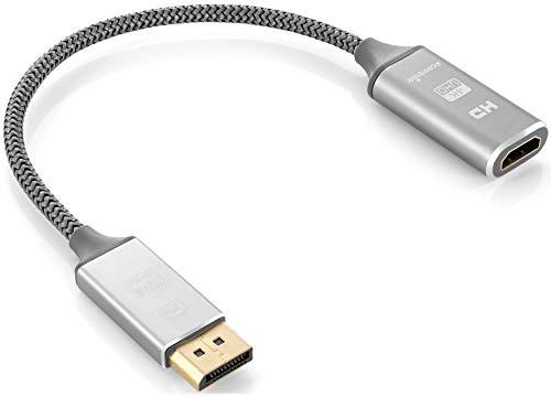 Poppstar Bildschirmport auf HDMI 2.0 (20cm Adapter-Kabel, grau, gesleevt, Th&erbolt 3 kompatibel, 4k UltraHD)
