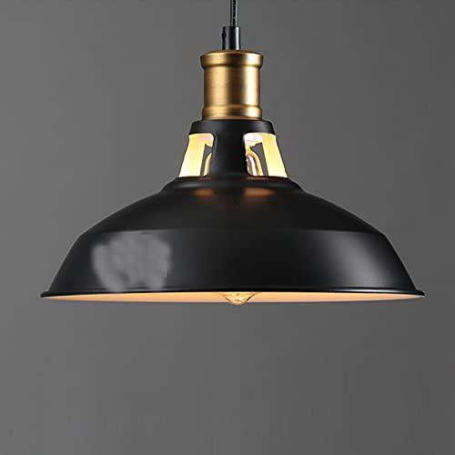 LANTING Lámpara de araña colgante industrial Edison antigua con pantalla de metal para cocina, dormitorio, cafetería, bar, club, color negro, casquillo E27, diámetro 27 x altura 20 cm