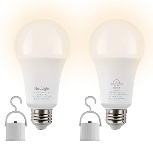 HouLight 5W Rechargeable Emergency LED Light Bulbs with Back Up Battery for Power Outage, Camping, Hurricane, Disaster Planning, 40W Equivalent, UL Certified (3000K Soft White, 2-Pack)