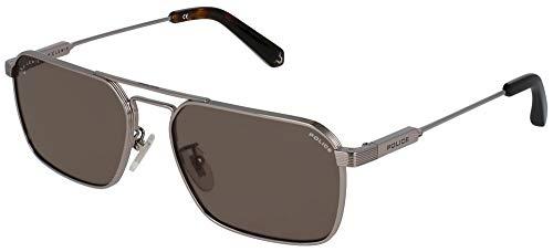 POLICE Gafas de sol para hombre Lewis piloto metal marrón SPLA23 54 0509