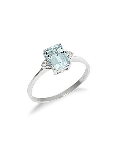 Gioielli di Valenza - Anello Con Acquamarina taglio Smeraldo e Diamanti laterali. - AN1694BBA - 12