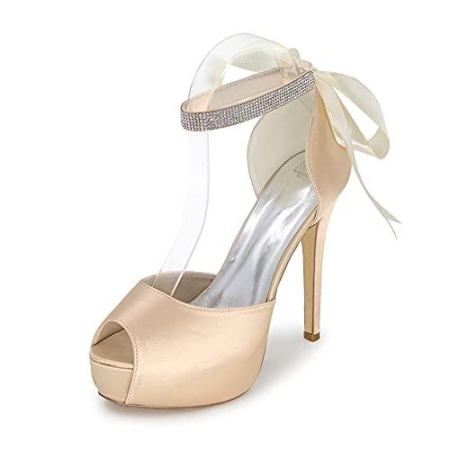 Zapatos De Boda De Satén con Plataforma con Punta Abierta para Mujer...