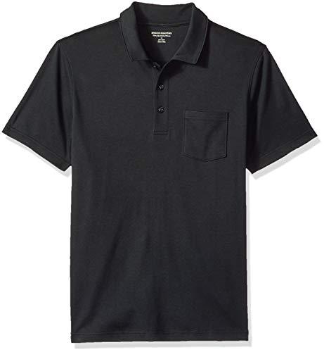 Amazon Essentials - Polo de manga corta ajustado y con bolsillo para hombre, Negro, US S (EU S)