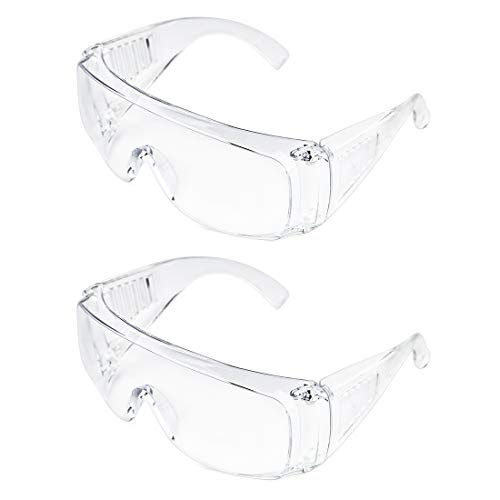 Slocyclub Safety Goggles Over-Glasses Safety Glasses with Clear Anti-Scratch Wraparound Lenses UV Protection(2 Pack)