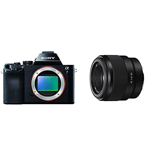 Sony Alpha 7 E-Mount Vollformat Digitalkamera ILCE-7 (24,3 Megapixel, 7,6cm (3 Zoll) LCD Display) schwarz & SEL-50F18F Standard Objektiv (Festbrennweite, 50 mm, F1.8) schwarz