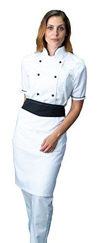 tessile astorino Ricamo Gratuito - Completo Cuoco da Cucina - Bianco e Nero - Divisa Chef Donna Manica Corta - Pantalone, Giacca e Grembiule - Made in Italy (M)