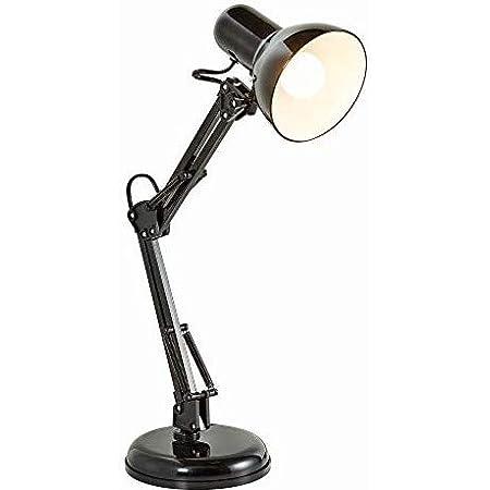 B.K.Licht lampe de bureau LED rétro, lampe de table LED, lampe de chevet métal avec articulation, lampe de lecture, éclairage LED halogène, E14, sans illuminant