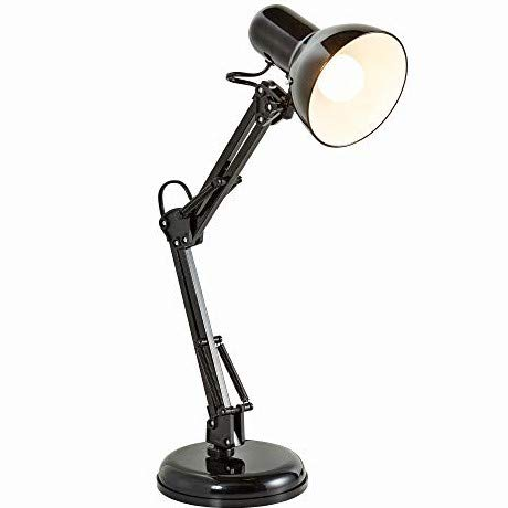 B.K.Licht - Lámpara de escritorio tipo arquitecto, flexo LED halógena, con brazo articulado giratorio, diseño vintage retro, color negro,...