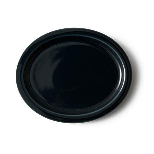 Ergonomic Plate - Navy Blue, Japanese Pottery, Hasami Ware, Porcelain, Easy to Hold