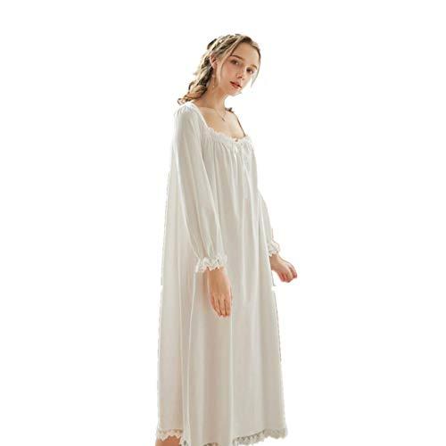Weibliche Vintage viktorianische Nachthemden, Lange Sleeve Cotton Sleepwear, Schlafanzug für Frauen Plus Size, Prinzessin Nachthemd Sexy Nightwear Lounge Kleid (Weiß,M)
