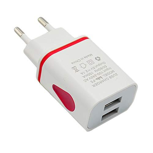 Vimoli Cargador Doméstico con 2 Puertos EU Enchufe Adaptador Multi-USB de 5V/2A Fácil de Usar para iPhone XS, XS MAX, XR, Samsung Note9, S9, S9+ y Otros (Rojo)