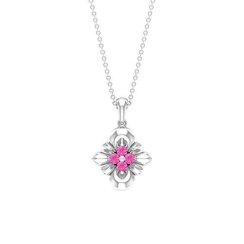Rosec Jewels 18 quilates oro blanco redonda Pink