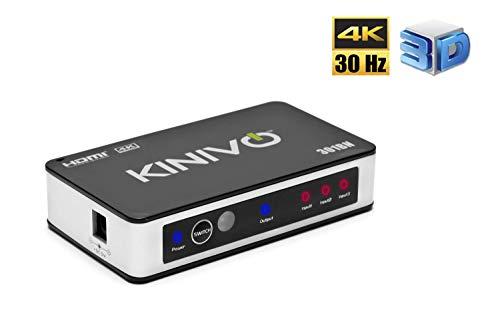 HDMI Switch 4K HDR, Kinivo (3 Port, 4K 30Hz, Auto-Switching, IR Wireless Remote)