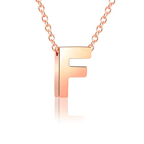 VU100 Initial F Letter Necklace Rose Gold Stainless Steel Alphabet Pendant Minimalist Jewellery for Women Girls