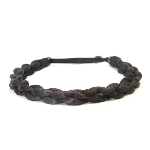 DIGUAN Chubby Narrow Synthetic Hair Braided Headband Classic Chunky Plaited Braids Elastic Stretch Hairpiece Women Girl Beauty accessory Mia, 58g (Natural Black)