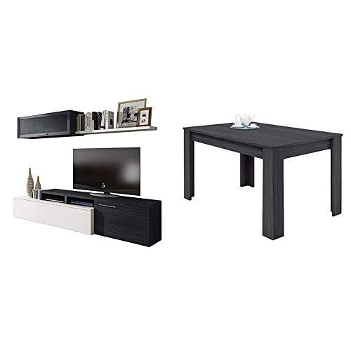 Habitdesign 016667G - Mueble de salón Comedor Moderno, Medidas: 200x41/34x43 cm de Alto + 004586G - Mesa de Comedor Extensible de 140 a 190 cm, Color Gris Ceniza