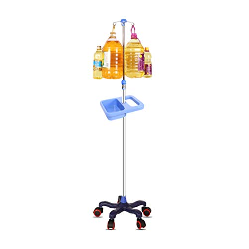 WANGF Porta Sueros de Infusión con Ruedas IV Poles Stand 4 Hook Optional 5 Caster Stainless Steel Infusion Stand Adjustable Height 110cm-190cm Drive Medical Removable