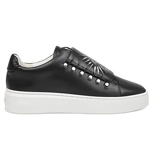 ED HARDY - Zapatillas de piel sintética con impresión y elásticas, color negro, (Negro blanco.), 40 EU