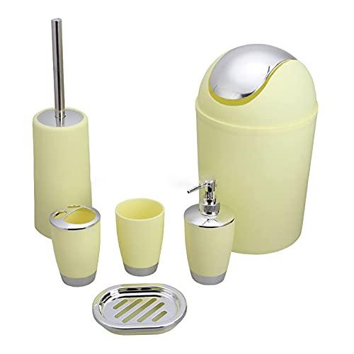 QINGQING Modern Design 6 Pcs Bathroom Accessory Set Include Tumbler,Toothbrush Holder& Toilet Brush Holder,Lotion Dispenser,Soap Dish & Trash Bin,For Bathroom (multiple Colour)