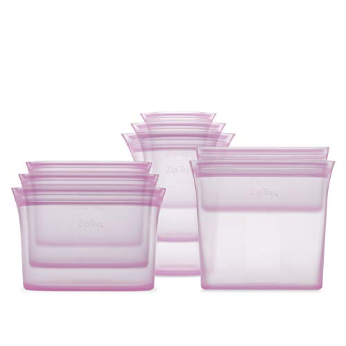 Zip Top Reusable 100% Silicone Food Storage Bags and Containers - Full Set- 3 Cups, 3 Dishes & 2 Bags - Lavender