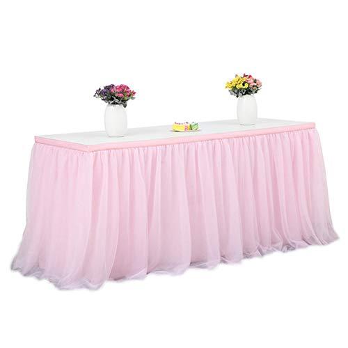 YOUNGE Decoración de la boda de tul de la tabla de la falda de color sólido de la vajilla de la tela para la mesa redonda rectangular fiesta fiesta fiesta