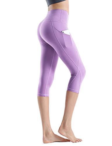 Rocorose Women's Running Leggings 4 Way Stretch Tummy Control Side Pockets Yoga Pants Light Purple M