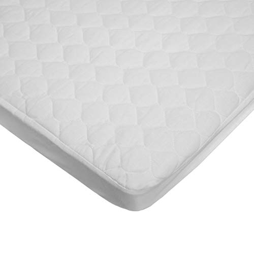 American Baby Company Waterproof Fitted Quilted Cotton Cradle Mattress Pad Cover, White, for Boys and Girls