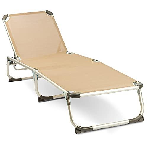 MaxxGarden Tumbona plegable – Tumbona de camping – Tumbona de playa – Aluminio – 189 x 59 cm – Color pardo