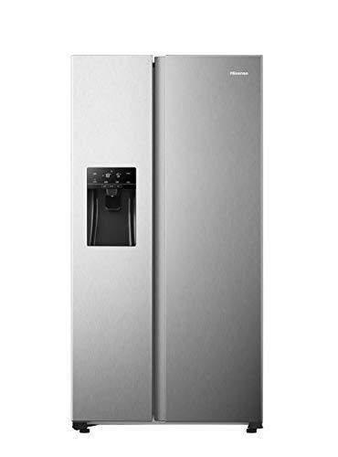 Hisense RS650N4AC2 Side-by-Side Kühl-Gefrierkombination/ NoFrostPlus/ Inverter-Kompressor/ FastFreeze/ Eis-Wasser Spender/ 179,1 cm/ Kühlteil 334 l/ Gefrierteil 165 l/ 43 dB/ 302 kWh/ Jahr/ Grau