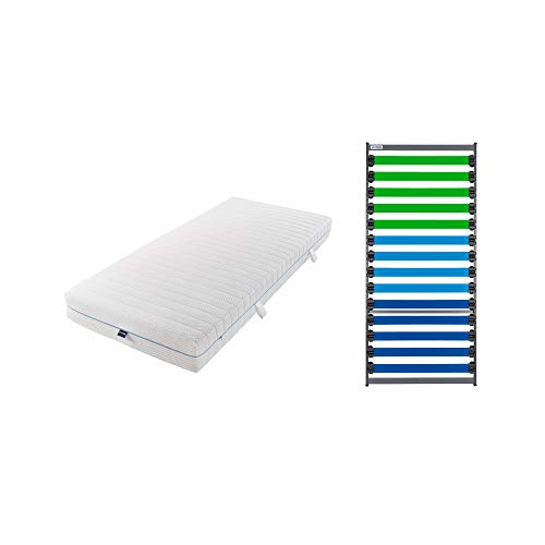 GOODSIDE Match 3 Fiberglas-Lattenrost inkl. Kaltschaummatratze - individuell anpassbar, fertig montiert (90 x 200 cm)