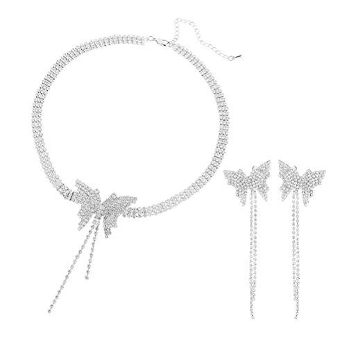 1 juego de collar de diamantes de imitación con forma de lágrima, accesorios de novia (plata) decoración para banquetes celebraciones favores