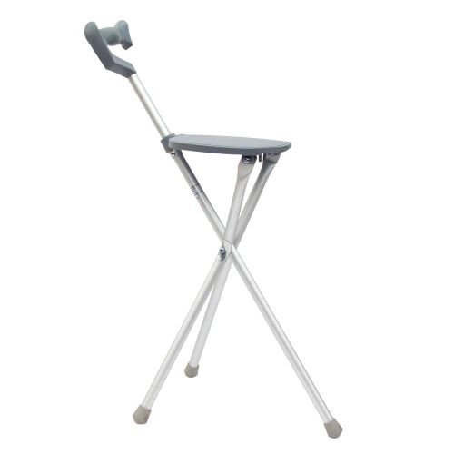 KX Medical Cane Walking Stick Seat Folding Portable Travel Camp Stool Chair Silver 250 Pound