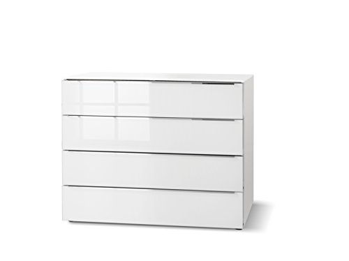Nolte Möbel Alegro Style Kommode mit Vier Schubkästen, Holzdekor, Polaweiß/Weißglas, 46 x 160 x 104 cm