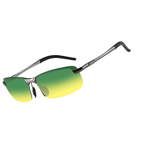 LZXC Herren Polarisierte Sonnenbrille, Tag und Nacht Autofahren Brille, Metallischer, Einheitsgröße, Metallischer Grauer Rahmen/Tag-nachtsicht Linse
