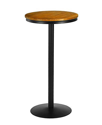 VILAVITA Wood Pub Table Round Bar Table Wood Top with Metal Leg and Base, 21.65 Inch Top and 41.5 Inch Height, Retro Finish