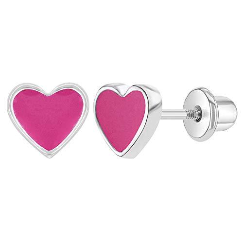 Chapado en rodio rosa esmalte corazón tornillo Back pendientes para niñas