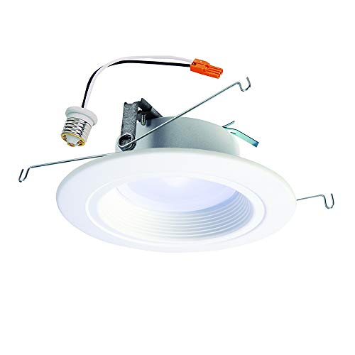 HALO RL 5 in. and 6 in. Matte White Integrated LED Recessed Lighting Retrofit Downlight Trim with 90 CRI, 3000K Bright White - RL560WH6930
