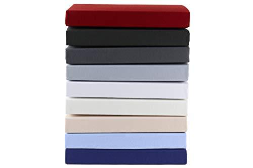Gerald Wittmann Prześcieradło z gumką Premium Line Mako Jersey z gumką, 100% bawełna, bordowa czerwień, 2X 90x200-100x200 cm